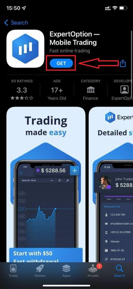 نحوه ورود و واریز پول در ExpertOption