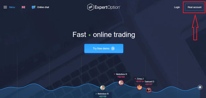 نحوه ثبت نام و تجارت گزینه های دودویی در ExpertOption
